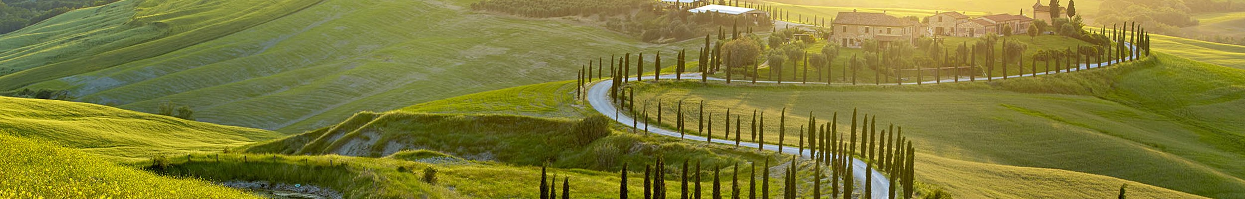 Winding roads in Italian countryside